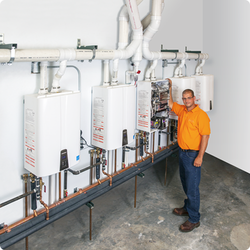 after Navien commercial tankless water heaters